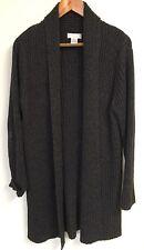 WORTHINGTON Essentials Womens Gray Sweater Coat Size LARGE