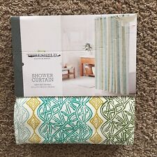 """THRESHOLD GREEN AND TAN PRINT 100% COTTON SHOWER CURTAIN 72"""" x 72""""  NEW"""