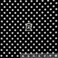 BonEful Fabric FQ Cotton Quilt VTG Black White B&W Small Little Calico Polka DOT