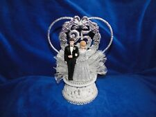 New 25th Wedding Anniversary Couple Caketopper with #25 Heart in Silver