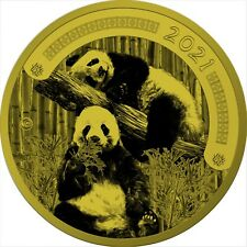 10 Cedis Ghana 2021 - 1 Kilo Chinese Panda 2021 vergoldet