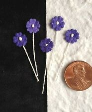 20 Flowers Tiny Purple Handmade Mulberry Paper miniatures Dolls hats bouquet