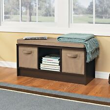 Upholstered Bench For Entryway With Storage Cushioned Espresso Hallway Bedroom