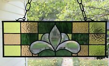 Victorian Style Stained Glass Window Beveled Panel Suncatcher Earth Tones,  18x6