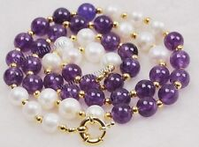 "8mm White Akoya Shell Pearl / Amethyst Round Gems Beads 14K GP Necklace 18"" AAA"