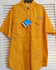 "COLUMBIA MENS "" BONEHEAD"" TANGERINE FISHING SHIRT S/S  SMALL  (19)"