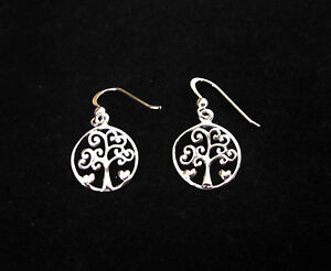 925 Sterling Silver TREE with HEARTS round dangle earrings