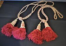 """Paire d""""embrasses  de rideau anciennes aves pompons couleur rouge-"""
