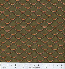 GONE WITH the WIND Draped Bows Gold on Green Fabric By the FQ - 1/4 YD