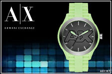 ARMANI EXCHANGE MEN'S RUBBER SIGNATURE GREEN LIME WATCH AX1383