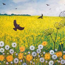 Volando sobre Golden campos Cuadrada En Blanco tarjeta de felicitación por la artista Jo Grundy Tarjetas