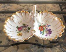 Vintage GERMAN BAVARIA LINDNER HP  FLORAL  Gold  Divide Service Dish