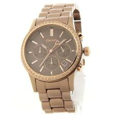 DKNY Watch NY8324 Brown Aluminum Bracelet Rose Gold/crystals Chrono Women's