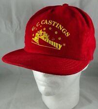 6589eba8bce6d Vintage Red Corduroy G.C. Castings Snapback Hat Snowplow Plow Truck Cap