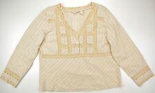 J. Jill beige subtle stripes lace tucks v-neck long sleeve top blouse size 18