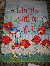 New listing Deb Grogan Garden Yard Flag Friends Gather Here Blue Birds Flowers Spring