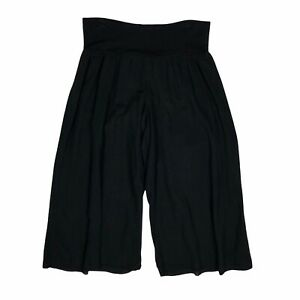 Hard Tail Yoga Pants womens M Black Wide Leg Crop Culottes Pull On Loose Fit