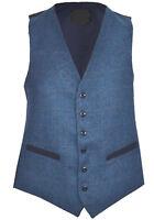Mens Classic Wool Blend Check Waistcoat Herringbone Formal  S - 3XL