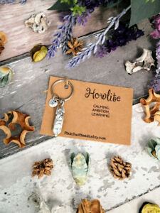 Howlite keyring Crystal keyring Howlite pendant Gemstone keyring Howlite crystal