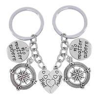 2 Piece Best Friend Key Chain Charm Compass No Matter Where Key Ring