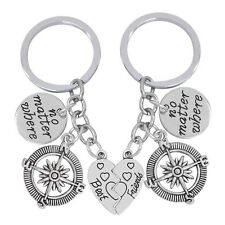 2 Piece Best Gifts For Friends Key Chain Charm Compass No Matter Where Key Ring