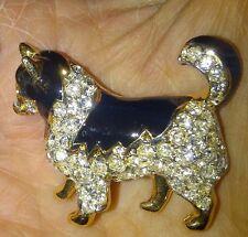 Designer smalto/cristallo brillante a pelo lungo Chihuahua, chi, Papillon Spilla di cane