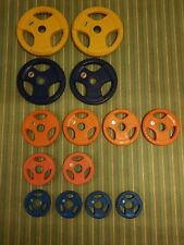 Marcy Olympic Weight Plate Set 80 kg. colored rubber grip coating.