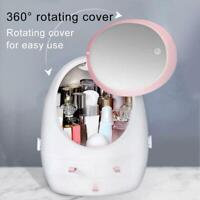 LED Makeup Mirror USB Cosmetic Storage Box Household Dustproof Desktop Rack