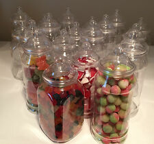 20 x 1L MIXED Retro Plastic Sweet Jars for Candy Sweet Buffet Wedding Storage