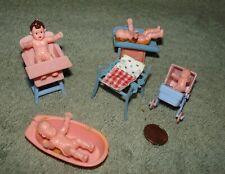 Vtg 1960s 1970s Lot of plastic babies & baby furniture, Blue Box Hong Kong, Cute