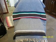 "Wool Blanket 56"" x 85"" Gray, Brown, Blue, Reds, Greens and Cream"