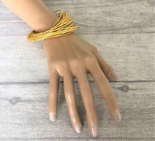 Set of Gold Tone Bangles Bracelets Inter linked Russian Style Slave Style