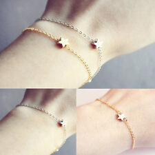 2PCS Women Fashion Gold Silver Plated Charm Chain Star Bracelet Jewelry Gift New