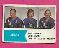 RARE 1974-75 OPC WHA # 1 AEROS THE HOWES GORDIE MARK MARTY  CARD (INV# C9652)