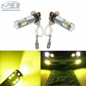 Pair H3 3000K Yellow   100W High Power LED Fog Light Driving Bulb DRL