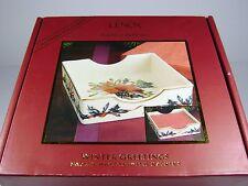Lenox Winter Greetings Napkin Holder w/ Napkins Cardinal Red Bird China NIB