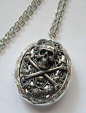 Pirate SKULL & CROSSBONES Silver pltd LOCKET Necklace PILL STASH Keepsakes BOX
