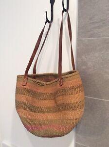 Vtg Woven Sisal Jute Earth Tone Striped Leather Strap Market Bag Tote Purse Boho