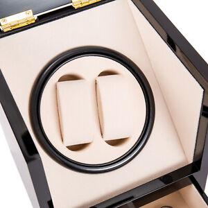 Dual 2+2 Automatic Rotation Watch Winder Box Silent Motor Watch Luxury Storage 2
