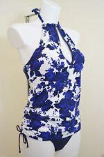 Neu Next UK 8 Blau Blumen Form Verbessernd Tanksuit Badeanzug