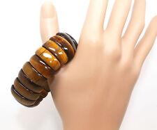 S013 Natural Yellow Gold Tiger Eye Gemstone Beads Stretchy Bracelet Bangle