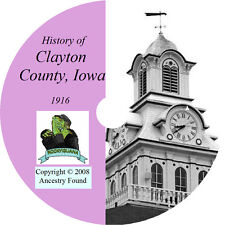 1916 CLAYTON County Iowa IA, - History & Genealogy -  Elkader - Ancestry CD DVD