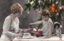 BJ514 Carte Photo vintage card RPPC enfant femme noél poupée doll jouet livre