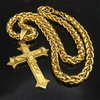 Stainless Steel Gold Jesus Chris Crucifix Cross 8mm Wheat Chain Necklace for Men
