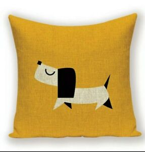 Cute Linen Dachshund Cushion Cover Large Sausage Dog Lover Novelty Gift