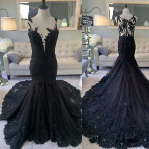Black Gothic Mermaid Wedding Dresses Sequined Sleeveless Bridal Gowns Custom New