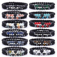 2Pc/Sets Natural Stone Bracelets Micro Pave CZ Bracelets Women Men Jewelry Gifts