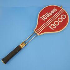 Vintage T3000 Wilson Tennis Racquet & Head Cover Chrome Metal Frame Medium 4 5/8