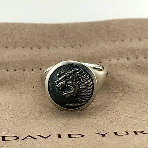 David Yurman Sterling Silver 925  Men's Petrvs Lion Signet Ring