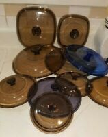Pyrex Glass Replacement Lids, Square, Round, Amber, Blue,Cranberry